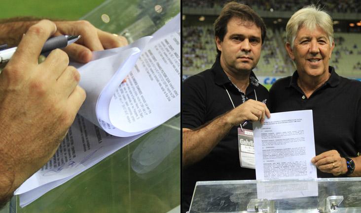 Minutos antes do jogo entre Ceará x CRB, a diretoria do clube assiou contrato de compra e confirmou a aquisição do CT