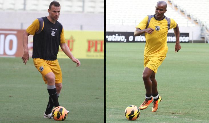 Cleiton e Diogo Orlando, durante os treinamento de ontem, na Arena Castelão