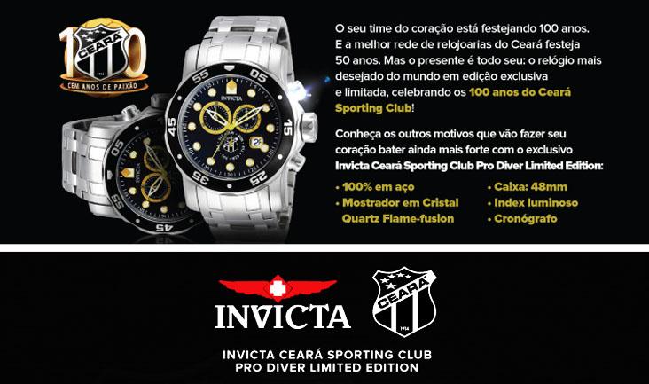 """Quer garantir o seu """"Invicta - Ceará Sporting Club""""? Vá até uma loja Aliança de Ouro"""