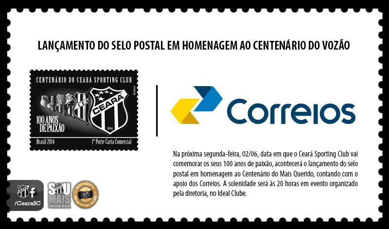 7ee305474bc7d Correios lança selo postal em homenagem ao Centenário do Ceará Sporting Club