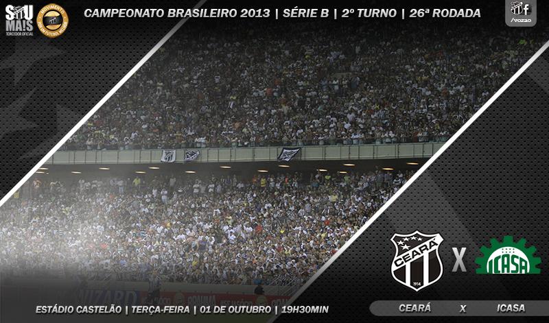 Ceará x Icasa vai ser realizado na próxima terça-feira, 01/10, na Arena Castelão