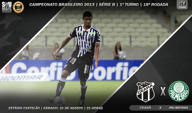 Ceará x Palmeiras será realizado neste sábado, às 21 horas