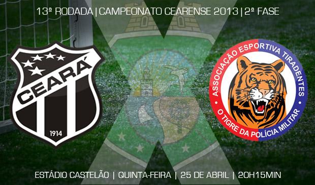 Ceará x Tiradentes vai ser realizado às 20h15min, no estádio Castelão