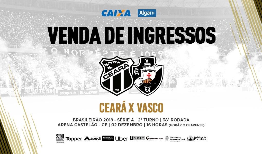 ec1b7a7759 Venda de ingressos para a partida entre Ceará e Vasco inicia nessa  segunda-feira