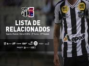 Confira os atletas relacionados para a partida entre Ceará x Paraná
