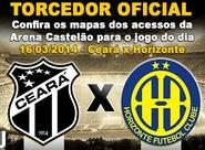 Confira os mapas de acessos para o jogo Ceará x Horizonte