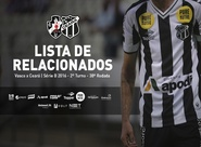 Confira os atletas relacionados para jogo entre Vasco x Ceará