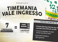 Troque apostas da Timemania por ingressos de Ceará x Guarani (J)