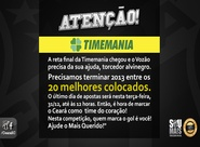 Ajude a manter o Vozão no G-20 da Timemania e concorra à R$ 1.250.000,00