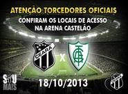 Confira os mapas de acessos para o jogo Ceará x América/MG