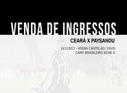 Ceará x Paysandu (venda de ingressos): Confira o horário de funcionamento das lojas nessa terça-feira