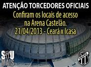 Torcedor Oficial: Confira os Mapas de Acessos para o jogo Ceará x Icasa