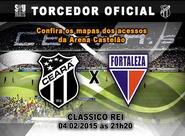 Confira os mapas de acessos para o jogo entre Ceará x Fortaleza