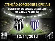 Confira os mapas de acessos para o jogo Ceará x Avaí
