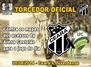 Confira os mapas de acessos para o jogo entre Ceará x Luverdense