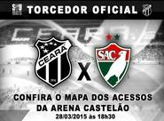 Confira os mapas de acessos para o jogo entre Ceará x Salgueiro/PE