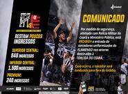 Torcedores do Flamengo uniformizados não poderão assistir à partida nos setores destinados à torcida do Ceará