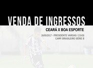 Confira os detalhes da venda de ingressos para Ceará e Boa Esporte