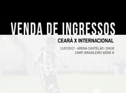 Ceará x Internacional: Venda de ingressos inicia nessa quinta-feira em todas as Lojas Oficiais