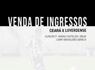 Venda de ingressos para Ceará e Luverdense começa nessa quarta-feira